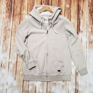 Roxy Sherpa Hood Long Tunic Zip Hoodie Sweatshirt